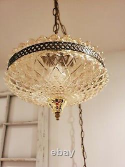 Hanging Swag Lamp Mid Century Regency Light Tangerine Pineapple Cut Glass Plug
