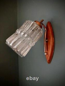 Huge MID Century Teak Brass & Glass Rocket 3 Arm Ceiling Light Vintage 60's 70's