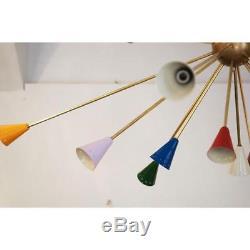 Huge Mid Century Modern Sputnik Italian Chandeliers Multicolored Stilnovo Lights