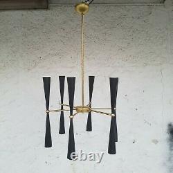 Italian 12 lights brass chandelier (kwords arteluce stilnovo mid-century murano)