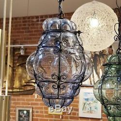 Italian Caged Glass Hanging Lamp Metal Triple 3 Globe Mid Century Light Swag