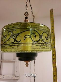 LARGE Swag Light Mid Century Green Glass Hand Painted Globe Hanging Lamp 2 AVAIL