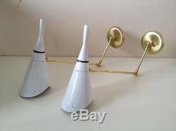 LAST PAIR Guariche STILNOVO Arteluce WHITE Cone SCONCES Mid Century LIGHTS Eames