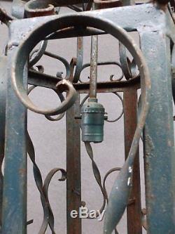 Large 1950s Wrought Iron Pendant Light Fixture Vtg Mid Century Garden 1282-16