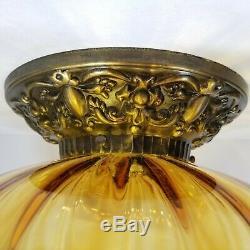 Large Amber Glass Brass Ceiling Light Fixture Flush Mount Vintage Mid Century