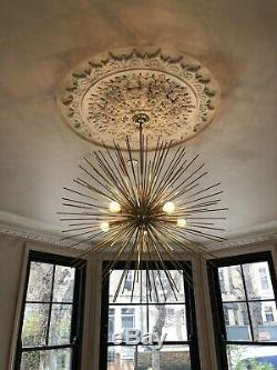 Large Mid Century Modern Brass Sputnik Starburst Chandelier Light -30inch Diam