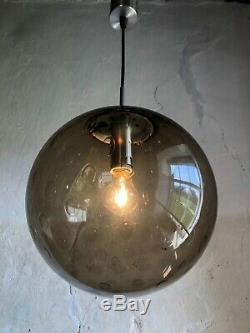 Large Mid Century Smoked Bubble Glass Globe Ceiling Light. 1960s/70s Spaceage