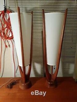 Large Pair Mid Century Modern walnut Lamps Atomic Danish Wood MCM retro lighting