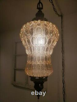 Large Swag Hanging Light Iridescent LampBubble Glass Mid Century Plug In REWIRED