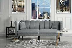 Light Grey Contemporary Modern Futon Sofa Plush Tuft Fabric Living Room Sleeper