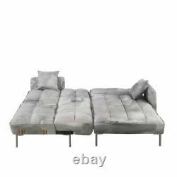 Light Grey Square Tufted Velvet Sleeper Futon Sectional Sofa, 110.6 W inches