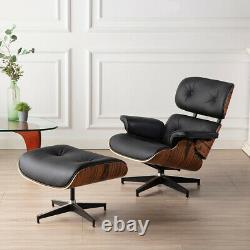 Light Rosewood Black Lounge Chair & Ottoman 100% Genuine Leather Armchair
