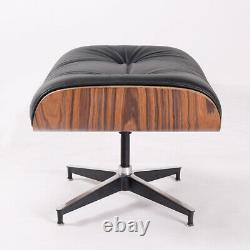 Light Rosewood Black Lounge Chair club chair Footstool Genuine Leather Armchair
