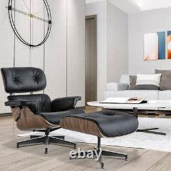 Light Rosewood Eams lounge chair & ottoman genuine leather Black Armchair