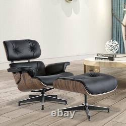 Light Rosewood Lounge Chair & Ottoman Italy Real Leather Armchair Recliner Black