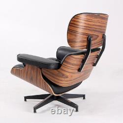 Light Rosewood Lounge chair & ottoman Real Italian Leather Armchair