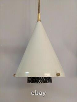 Lightolier Pendant Lamps Pair Mid Century Modern Mod MCM White Brass Lights