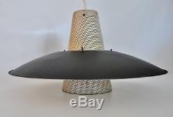 Lightolier Vtg Mid Century Modern Saucer Pendant Light Fixture Chandelier Lamp