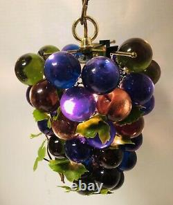 Lucite Grapes Swag Light Hanging Lamp Blue Green Vintage Mid Century Modern 10