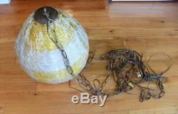 MID-CENTURY ATOMIC BEEHIVE Spaghetti Fiberglass Shade Hanging Swag Lamp Light
