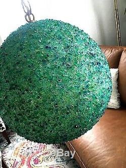 MID CENTURY MOD LAVA Popcorn ROCK LUCITE HANGING LIGHT/LAMP ATOMIC Greens Blues