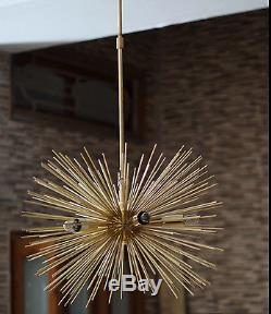 MID Century Brass Urchin Light Ceiling Lamp Chandelier Sputnik 5bulb