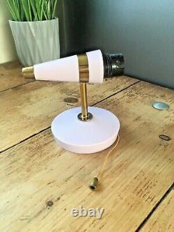MID Century Designer Pink Bakelite 60's Gold Striped Shade Wall Light Lamp Retro