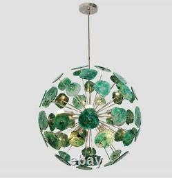MID Century Green Agate Stone Urchin Sputnik Chandelier Modern Stilnovo Kalmar