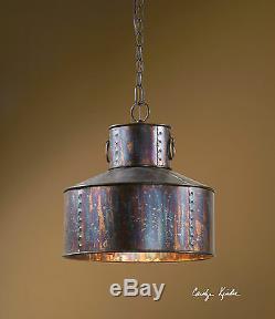 MID Century Industrial Oxidized Pendant Light Chandelier Hanging Metal Shade