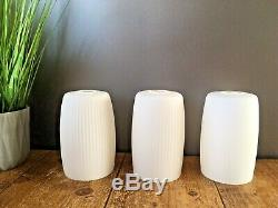 MID Century Modern Danish Bentwood Teak 3 Arm Ceiling Light White Glass Shades