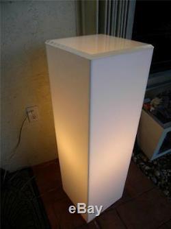 MID Century Modern White Lucite Lighted Pedestal Lamp