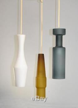 MID Century Opaque Glass 3 Cylinder Chandelier Light Fixture