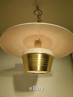 MOE Lighting Edward Wormley Style Brass Saucer Pendant Light Mid Century Modern