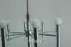 Marvelous DORIA Pendant / Chandelier, Chrome, 17 Lights, Mid Century 60's/70's