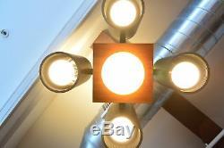 McPhilben Custom Mid Century Modern Teak Aluminum Architectural Light Fixture