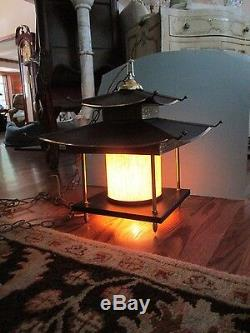 Mid Century 1960's Pagoda Hanging Light Swag Lamp, Oriental Buddha Lantern #2