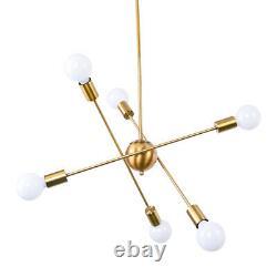 Mid Century 6 Lights Sputnik Chandelier Modern Brass Pendant Lamp Ceiling Lights