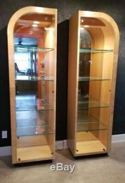 Mid-Century 80's Henredon Burl Maple & Glass lighted Display Case/Curio Cabinets