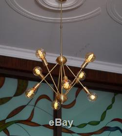 Mid-Century Brushed Brass Sputnik Starburst Chandelier Brass Light fixture