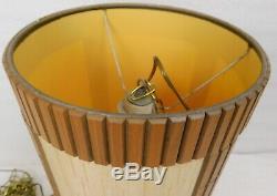 Mid Century Ceiling Light Hanging Fixture Swag Lamp Teak Linen
