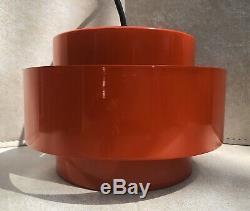 Mid-Century Danish Modern Jo Hammerborg 1969 Juno Red Pendant Light, Fog & Morup