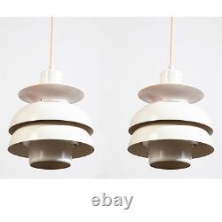 Mid Century Danish Modern Pendant Lamps Set Light Lyskaer White Hanging Denmark