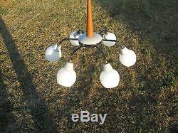 Mid Century Danish Modern Style Chandelier wood Glass Shades 6 Light balls