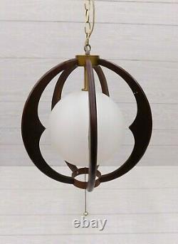 Mid Century Danish Modern Teak Wood Pendant Globe Swag Light