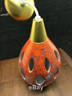 Mid Century Danish Orange Lava Drip Ceramic Cut Out Ceiling Light Fixture