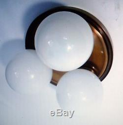 Mid Century Eames Era 3 Globe Milk Glass Flushmount Ceiling Light Fixture 1970s