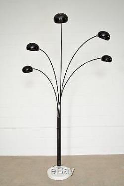 Mid Century Floor Lamp Tall Black Five 5 Arm Floor Light with Marble Base