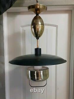Mid Century Flying Saucer Pull Down DINING KITCHEN Ceiling Light atomic era bras