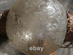 Mid Century Hanging Lamp Swag Light Glass Globe Retro Pendant Vintage Chain 17