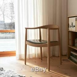 Mid-Century Hans Wegner Style Kennedy Dining Chair With Black Leather Seat